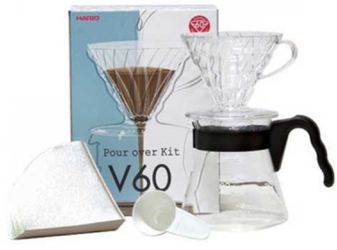 Sort kaffe på Hario V60